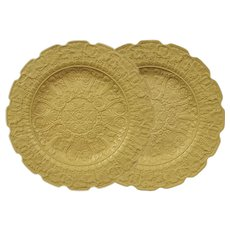 Pair Ridgway Smear-Glazed Buff Stoneware Molded in Relief Dessert Plates Neoclassic Style - circa 1835, England