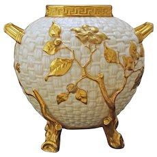 Antique Royal Worcester Basket Weave Vase - Date Code Year 1884, England