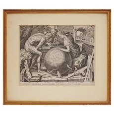 Cornelis Cort Geometria Seven Liberal Arts Copper Engraving Laid Paper Watermark Provenance Antwerp