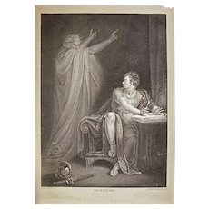 Stipple Engraving Shakespeare Julius Ceasar Act IV Scene III England Antique