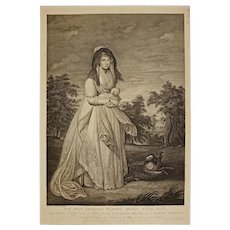 Queen Charlotte Dogs Frogmore Stipple Engraving Ryder after Beechey - circa 1804, England