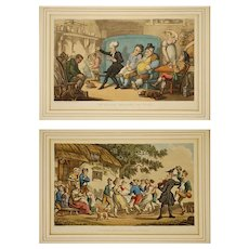 Pair Dr Syntax Etchings Rural Sports and Reading his Tour - circa 1855, England