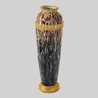 "19"" Tall Boch Freres Drip Glaze Ormolu Vase / Lamp Base La Louviere Art Deco - circa 1920's, Belgium / France"