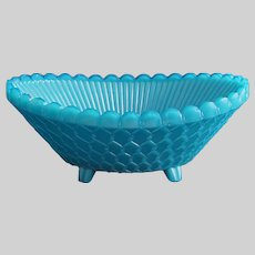 French Opaline Glass Basketweave Bowl Turquoise Portieux - 20th Century, France