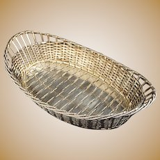 French Oval Woven Basket / Corbeille/ Panier / Vannerie Silverplate - 20th Century, France