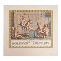 La Balancoire Games and Pleasures of Childhood Engraving Framed after Bouzonet Stella