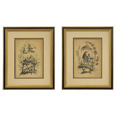 Pair 18th Century Pillement Chinoiserie Engravings Framed - France