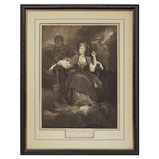 Mrs. Siddons as the Tragic Muse after Joshua Reynolds by J. Webb - circa 1798, London
