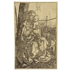 After Albert Durer Virgin and Child Seated by a Tree AD 1513 Monogram