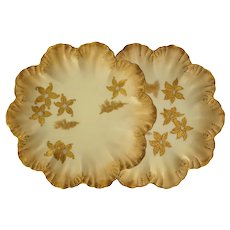 Pair Alfred Lanternier Antique Limoges Gilt Scalloped Plates Anchor Mark - circa 1890, France