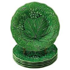 Set Six Antique Wedgwood Majolica Green Leaf Strawberry Grape Plates - circa 1890's, England