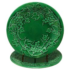 Pair Antique Grape Vines Wreath Green Glaze Majolica Plate Dish Pottery