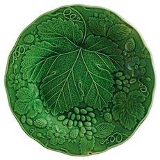 "English Majolica Grove & Stark 9"" Green Leaf Plate Strawberry Grape Vine - 1880's, Longton, Staffordshire, England"