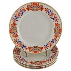 Set 4 Chamberlain's Worcester Regents China Dinner Plate - circa 1820, England