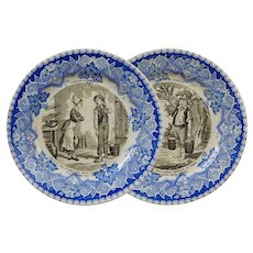 Country Jokers Pair Luneville Faience Dishes Farceurs du Campagne Plates - circa 1900, France