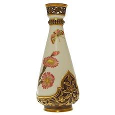 1884 Royal Worcester Japonisme Aesthetic Botanical Pierced Cabinet Vase Antique Porcelain - 1884, England