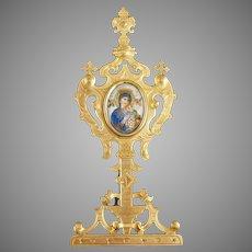 Antique Madonna and Child Porcelain Plaque on Brass Frame
