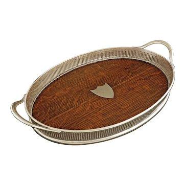 Antique English Oak Wood Silver Plate Gallery Tray Shield Handles Edwardian