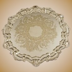 Georgian Style Salver Drinks Bar Tray Silver Plated Sheffield Shell  Border  - 1908-1950 mark, USA