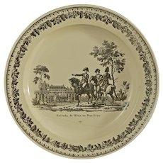 Creil Faience Fine Legros D'Anizy Creamware Napoleonic Transferware Plate Pamplona - Circa 1819, France