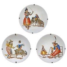 Set 3 Antique Circus Monkey Clown Pagliacci Società Ceramica Richard Dessert Plates - ca. 1890–99, Milan, Italy