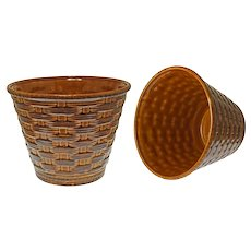 Pair French Majolica Sarreguemines Cache Pot Planter Flower Pot Basketweave Large - 20th Century, France