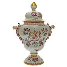 Crawford Coat of Arms Armorial Samson Chinese Export Style Porcelain Lidded Urn