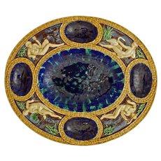 Minton Majolica Renaissance Dish Palissyware Neptune Mercury Leda Venus Large Oval Platter - Date Cipher 1867, England