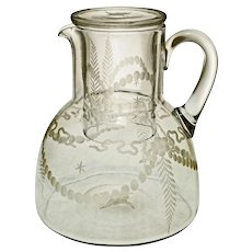 "American Hawkes Glass Carafe Pitcher & Glass Set Etched Signed 7"" Tall - after 1901, Corning, NY"