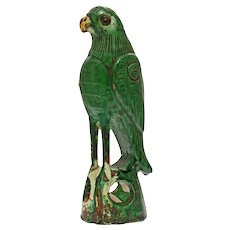 Chinese Green Parrot Sancai Roof Tile Finial Figure Glazed Pottery