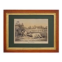"Currier Ives Fanny Palmer Pointer Dogs ""On a Point"" Lithograph - circa 1855, New York"