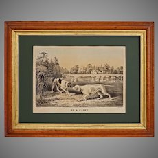 """Currier Ives Fanny Palmer Pointer Dogs """"On a Point"""" Lithograph - circa 1855, New York"""