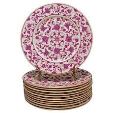 Set 12 Lorraine Maroon Franciscan China Dessert Plates - 20th Century, California, USA