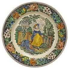 Montereau Louis Lebeuf Early Transferware Faience Plate - circa 1840, France