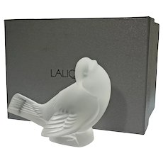 Lalique Sparrow Head Up Bird Frosted Glass Boxed - 20th Century, France