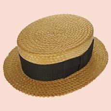 1930's Stetson Straw Boater Men's Hat John B Stetson Company Black Gross Grain Ribbon