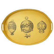 Prettiest Tole Tray Hot Air Balloon Painted Metal Yellow Black Oval Handled Napoleonic French Style - 1972, Italy