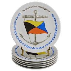 Set 6 French Nautical Flags Code de la Mer Appetizer Porcelain Plates - 20th Century, France