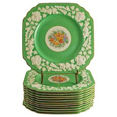 Set 12 George Jones Rhapsody Art Deco Plates Green Square Embossed Border - 1891 to 1920 mark, England