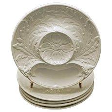 Set 5 Gien PV Majolica Artichoke French Vintage Plates Off White - 20th Century, France