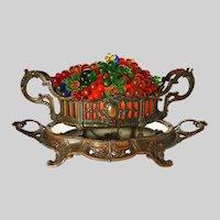 Glass Fruit Lamp Jardiniere on Mirrored Plateau Centerpiece Czech Glass Grapes Fruit