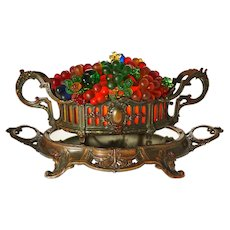 Glass Fruit Lamp Jardiniere on Mirrored Plateau Centerpiece Czech Glass Grapes Fruit