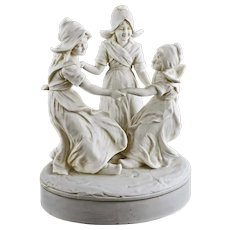 Antique Dutch Girls Ring Around the Roses Group Parian Biscuit Figurine Group