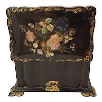 Antique Tea Caddy Box Mother of Pearl Victorian Papier Mache Black