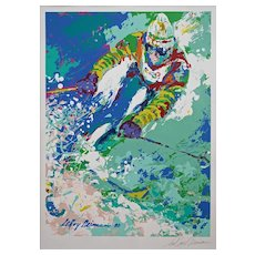 Leroy Neiman Pencil Signed Serigraph Framed Downhill Skier - 1980, USA