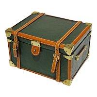 Leather Dresser Box Steamer Trunk Shape Hinged Lid Rectangular - 20th Century