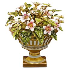 Jane Hutcheson Fleurs des Siecles Flower Arrangement in Reticulated Porcelain Bolted Old Paris Style Compote Basket for Gorham