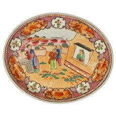 New Hall Lady In The Window Pattern 425 Antique English Chinoiserie Oval Porcelain Dish - c. 1820, England