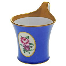 Antique KPM Berlin Scepter Royal Blue Iron Cross Mark Porcelain Cup Floral Hand Painted - circa 1914, Germany