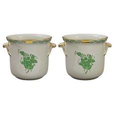 Pair Herend Apponyi Green Cachepot Planter Jardiniere Flower Pot with Handles Porcelain 7205 AV - 20th Century, Hungary
